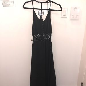 LF black maxi dress with lace and v back